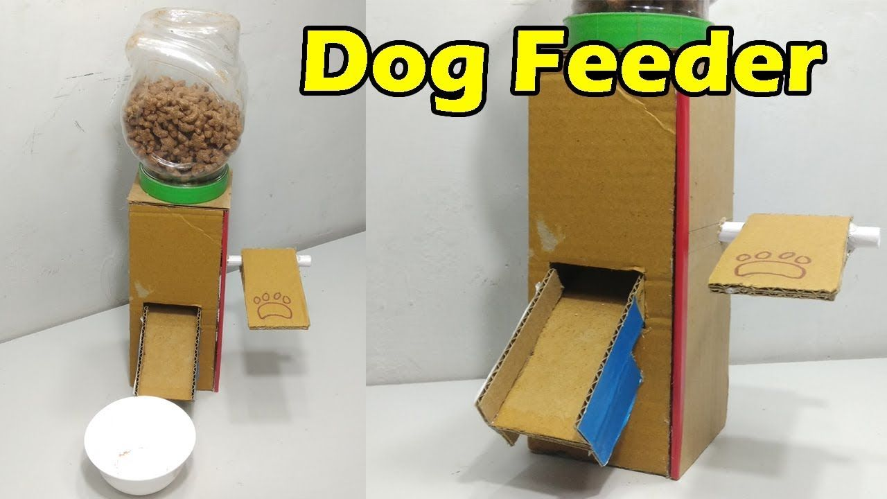 How To Make Dog Feeder At Home Dog Food Dispenser From Cardboard
