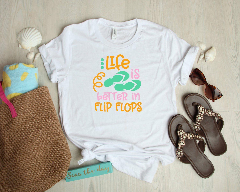 0b69b0eb4b05 Life is Better in Flip Flops Shirt Summer Shirt Beach Style Womens Shirt  Summer time tee
