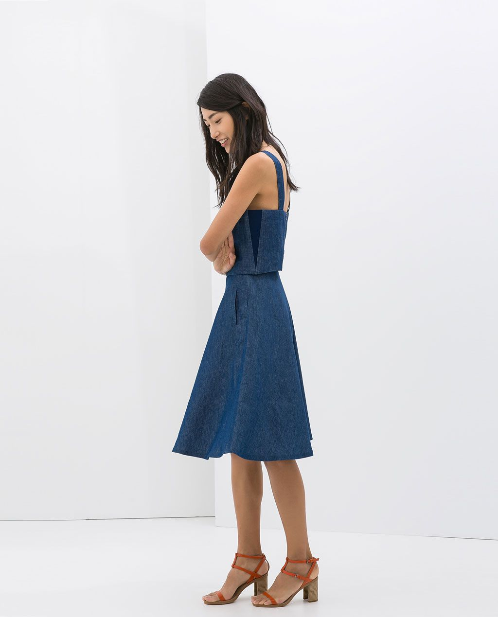 429081d0a Falda Denim Midi Zara   Wig Elegance