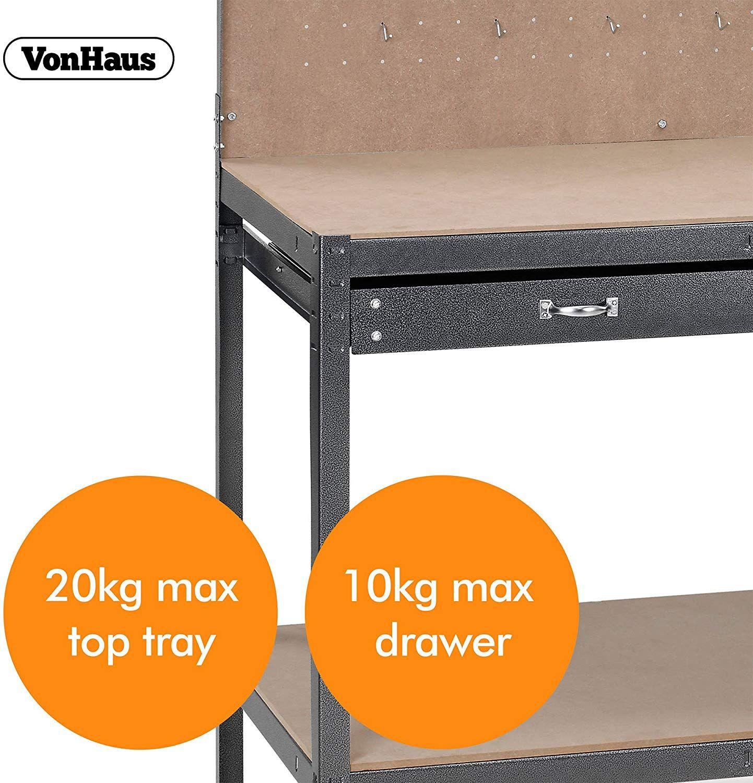 Shelf L120 x W60 x H155 Boltless Worktable Grey Hammered Texture Finish Massive 230kg Capacity 20 Hooks VonHaus Garage Workbench Pegboard Heavy Duty Reinforced Steel with Storage Drawer
