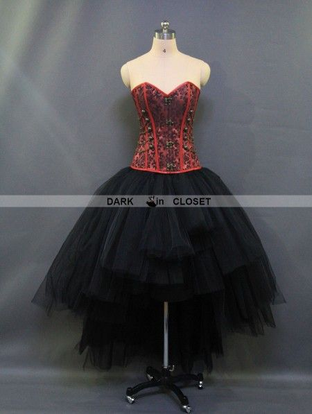 Red And Black Gothic Steampunk Burlesque Corset High Low Prom Party