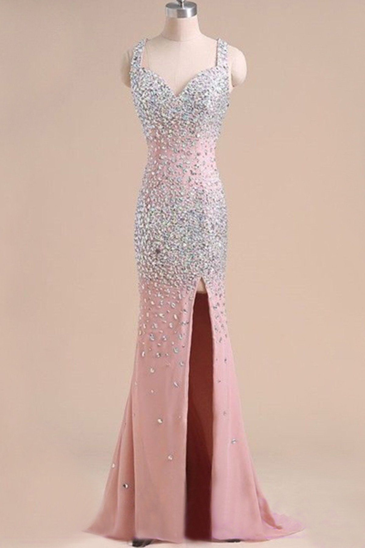 59eeeb10e21 Peach pink chiffon sequins long prom dresses with straps