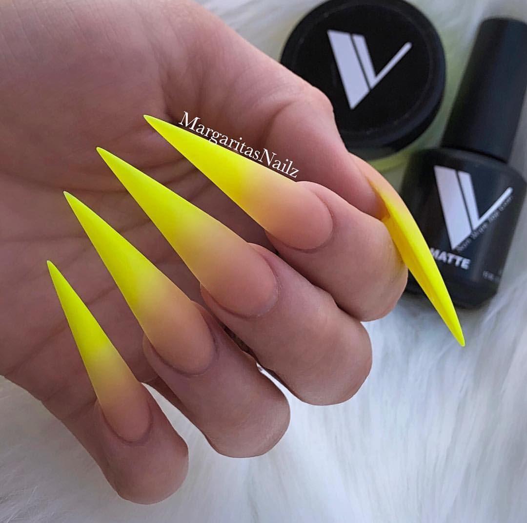 Neon Yellow Ombre Stiletto Nails Matte Top Spring Nail Designs By Margaritasnailz Yellownails Matte Stiletto Nails Designs Matte Stiletto Nails Stiletto Nails