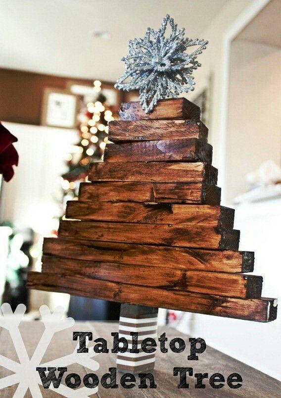 Pallet Wood Christmas Tree Tabletop Ideas Reclaimed Wood Easy Project Handmade Christmas Tree Christmas Decor Diy Easy Christmas Crafts