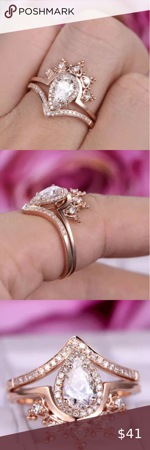 Rose gold pear halo crown ring diamond wedding set nwt in