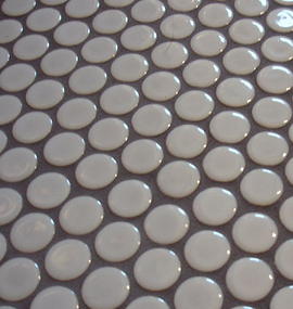 White Penny Tile With Dark Gray Grout Would Love This