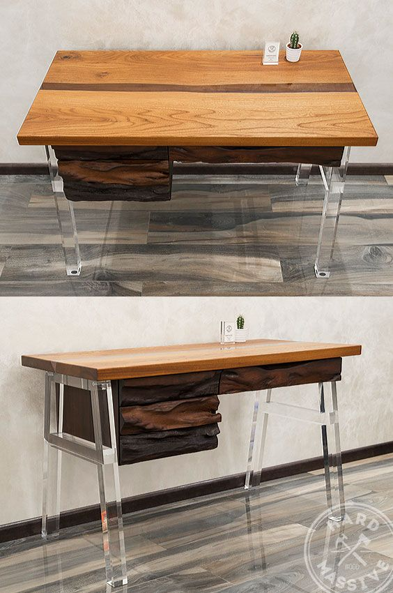 Modern Work Desk Table Made Of Wooden Slabs Chinar And Hornbeam. Design  Table In The Style Of A River Filled With Epoxy Resin. Legs Out Plexiglas  Acrylic ...