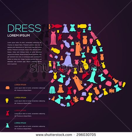Colorful woman fashion, clothes, and dress icon infographic - fashion design brochure template