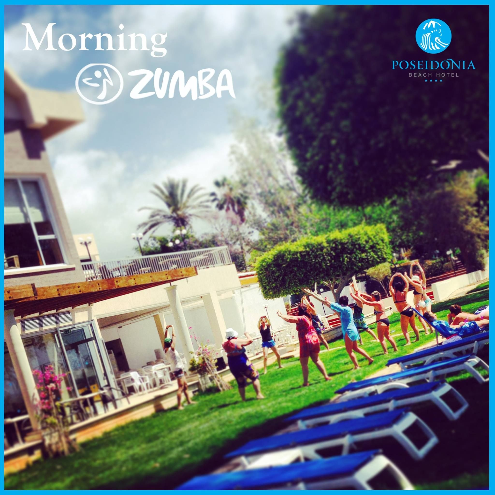 Good Morning Zumba! Poseidonia Beach Hotel... #Fitness & #Fun in our #SeaFront #Garden..#Newmanagement — at Poseidonia Beach Hotel.