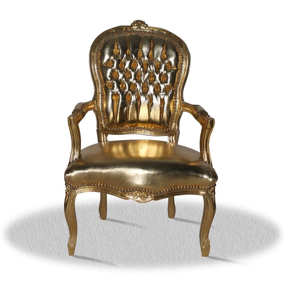 Barock Stuhl Gold Kunstleder Antik Repro Design Salon Deko Modern Lounge  Luxus