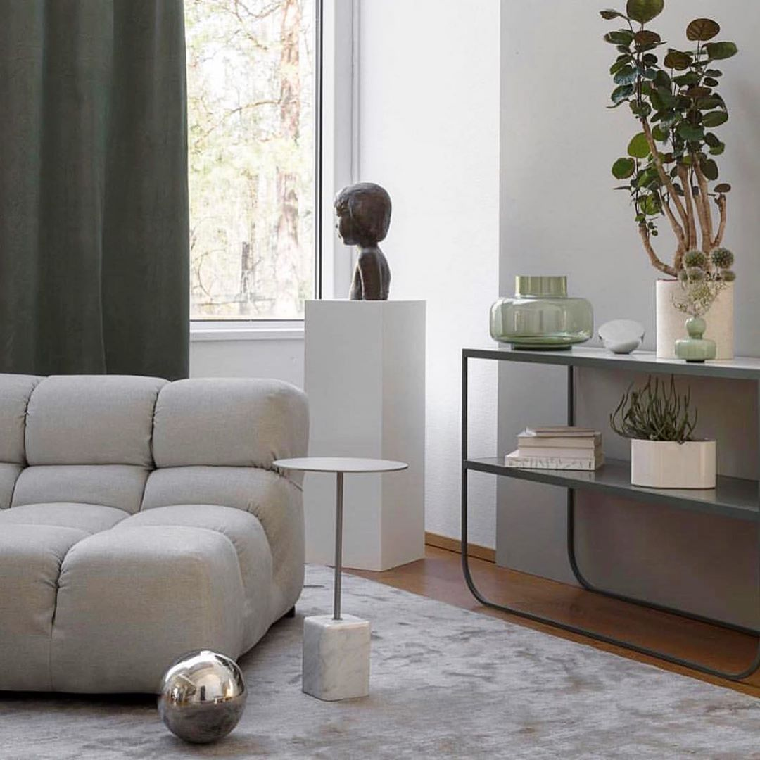 This Living Room Exudes Serenity With The Walls And: Tones Of White Exudes Serenity #tuftysofa #livingroom