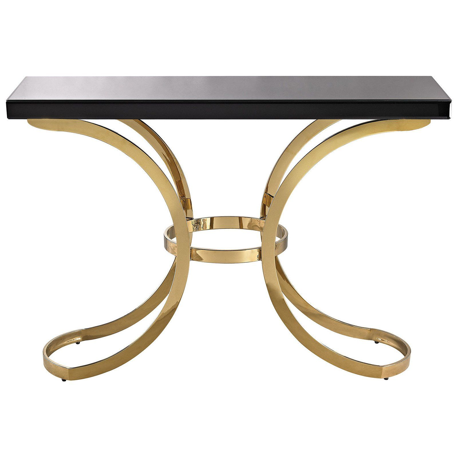 beacon towers console table in gold plate and black glass products rh pinterest co uk