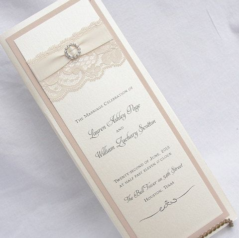 Lace Wedding Program Cards Using Real By LavenderPaperie1