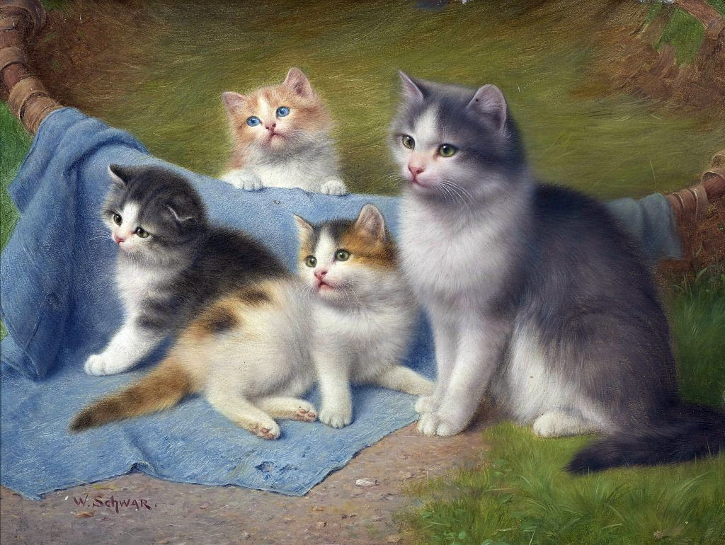 Mother With Her Three Kittens Jigsaw Puzzle In Piece Of Art Puzzles On Thejigsawpuzzles Com Puzzle Art Cats And Kittens Kittens