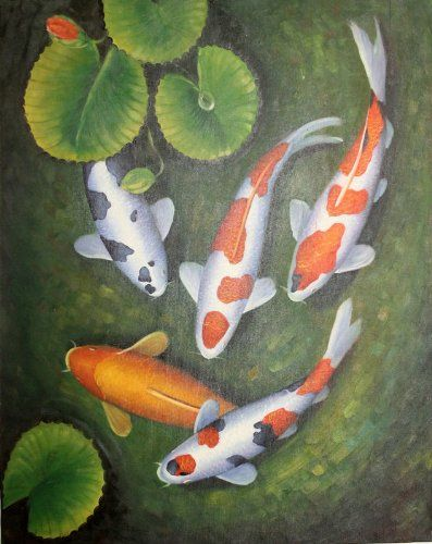Koi Fish In Lily Pond Oil Painting On Stretched Canvas