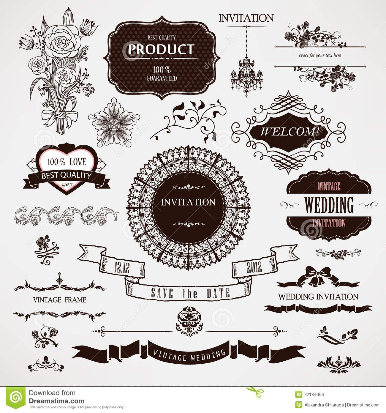 Vector Wedding Design Elements And Calligraphic Page Decoration Stock