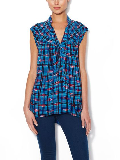 """Easy Sleeveless Henley Top by """"Plenty by Tracy Reese"""""""