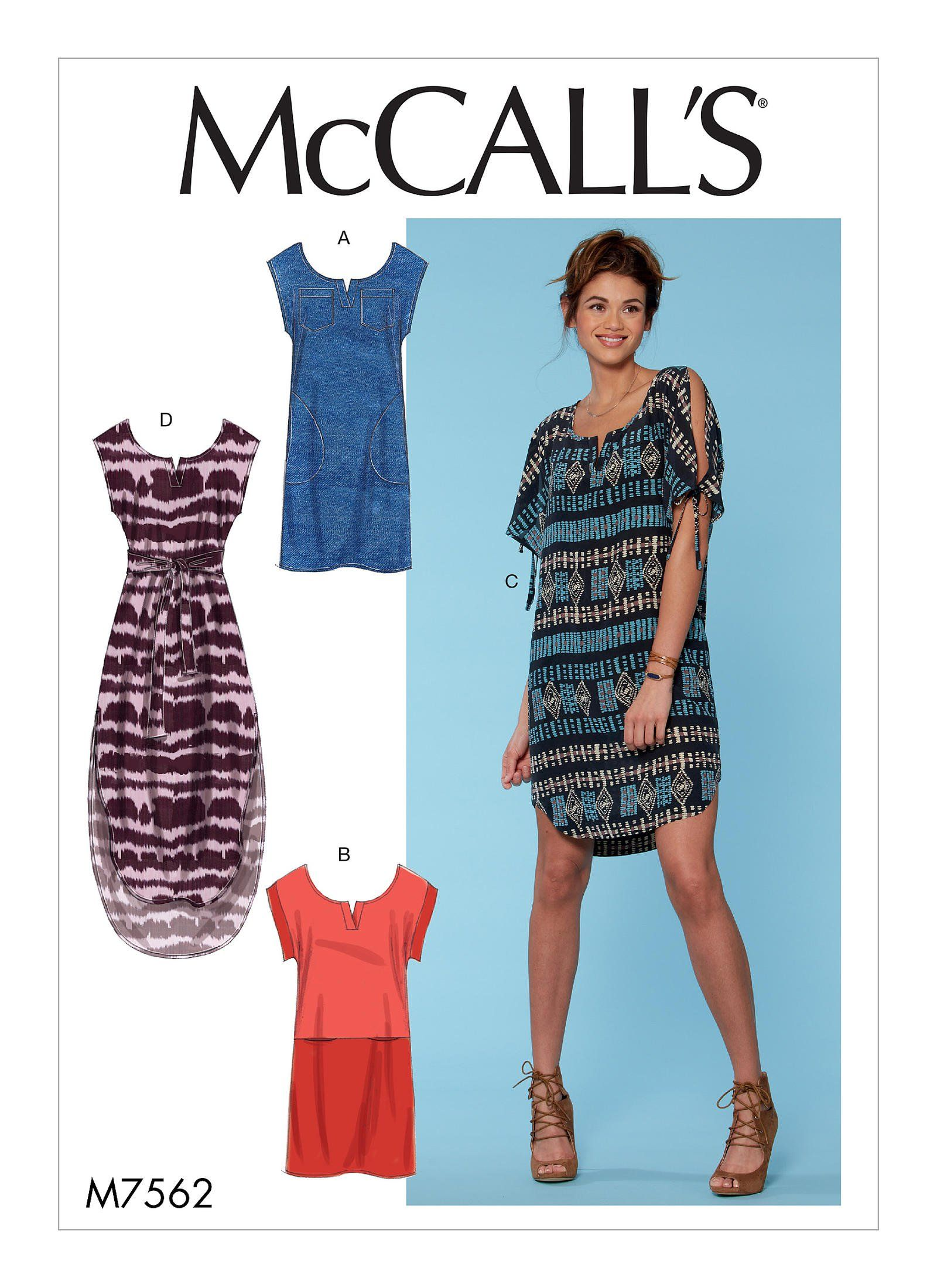 Mccall S 7562 Misses Pullover Dresses With Sleeve Ties Pocket