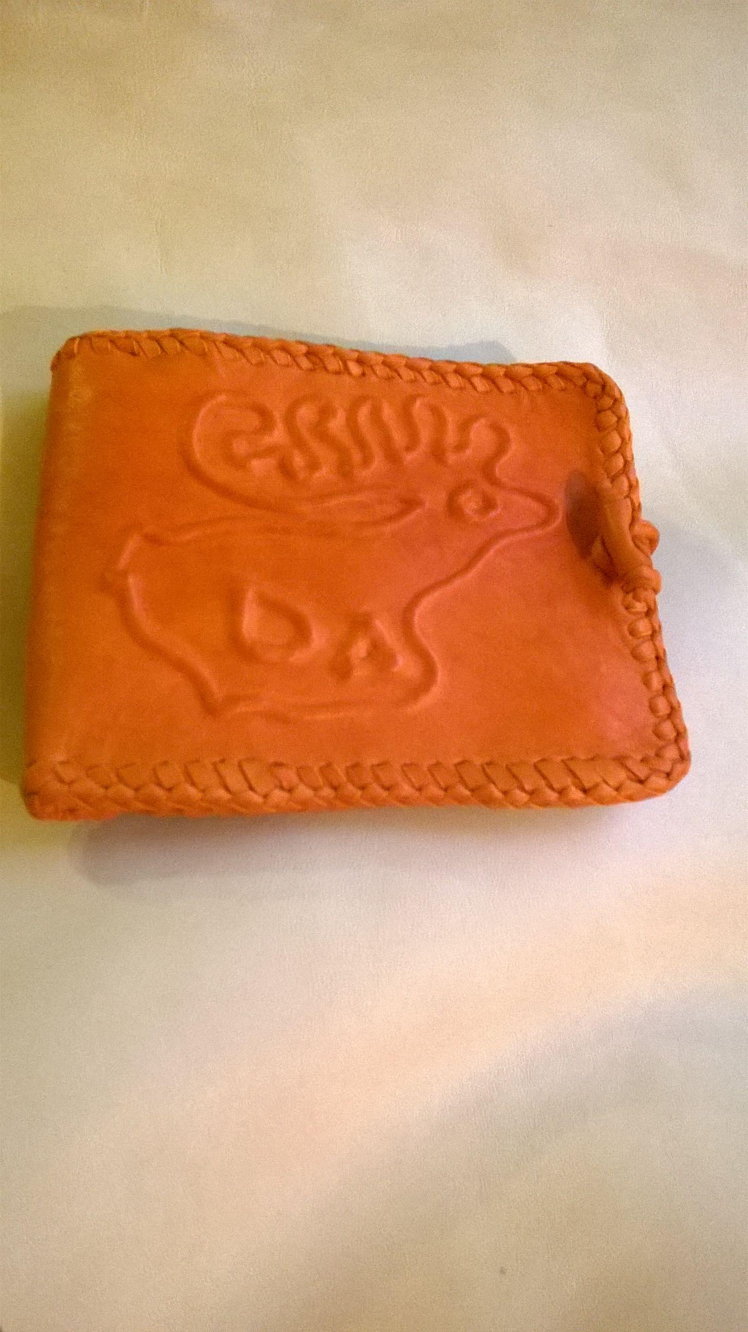 Domborított mintájú narancssárga pénztárca (Maryleathers) - Meska.hu ... bf043f76e9
