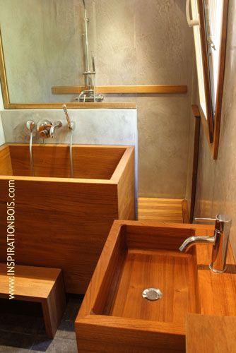 Vasque en Teck, bain Japonais et entrée de la douche ...