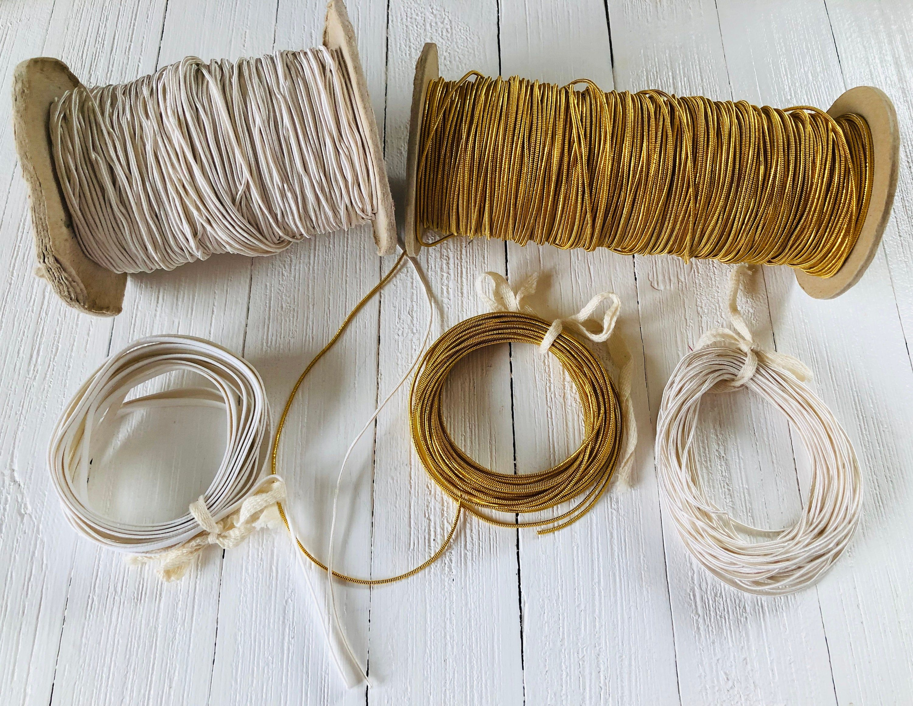 1 4 Inch Wide Elastic For Face Masks 1 16 Inch Round White Elastic 1 16 Inch Round Gold Elastic 10 Yards Of Round By Recycl