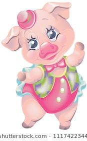 Vector Clipart Cartoon Pig In Carnival Circus Suit Pigs Pinterest