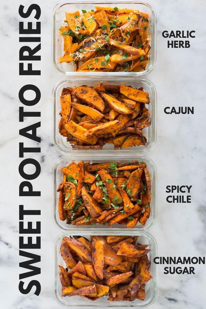 Photo of Easy Sweet Potato Meal Prep – Baked Sweet Potato Fries 4 Ways