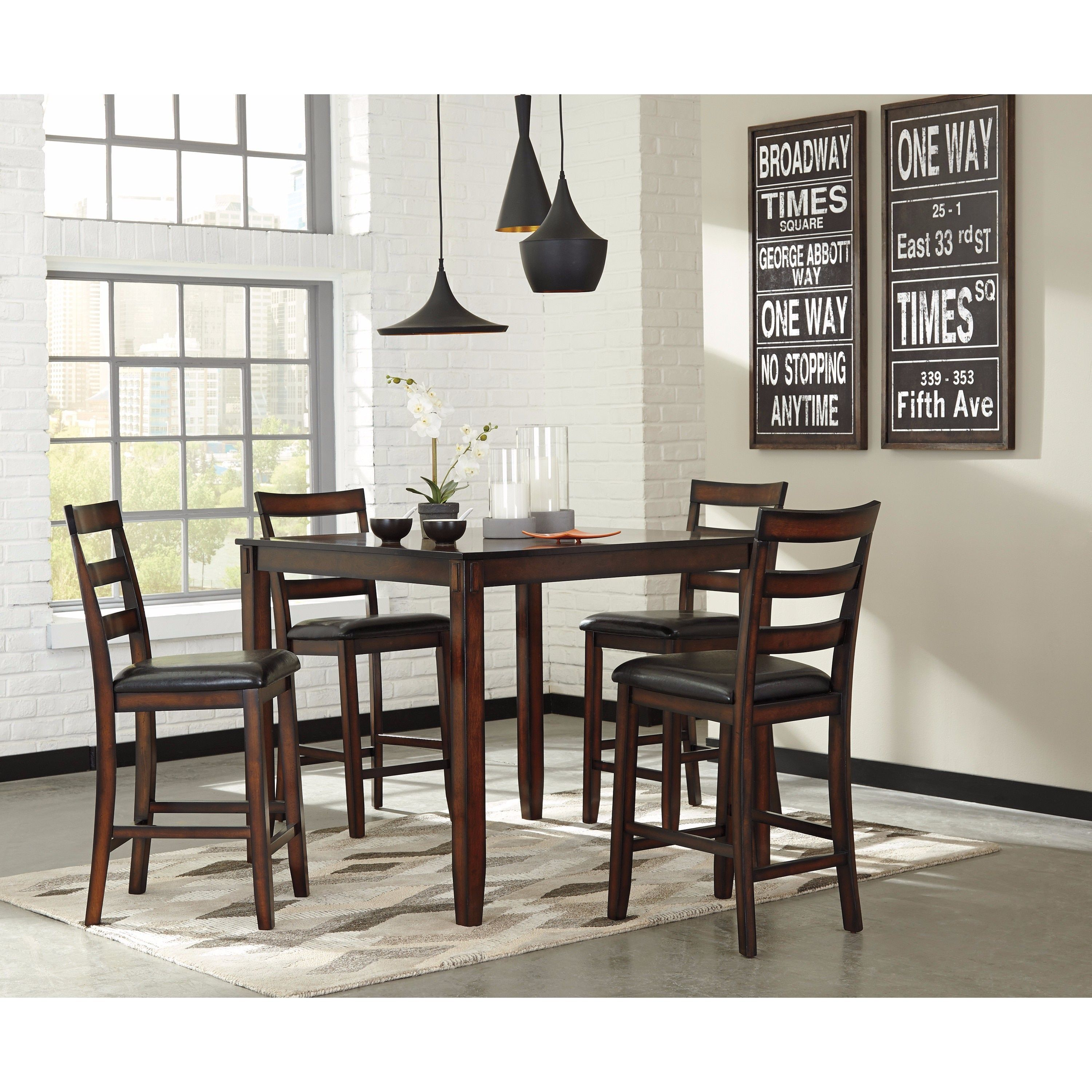 Signature Design By Ashley Coviar Brown 5 Piece Counter Table Set .