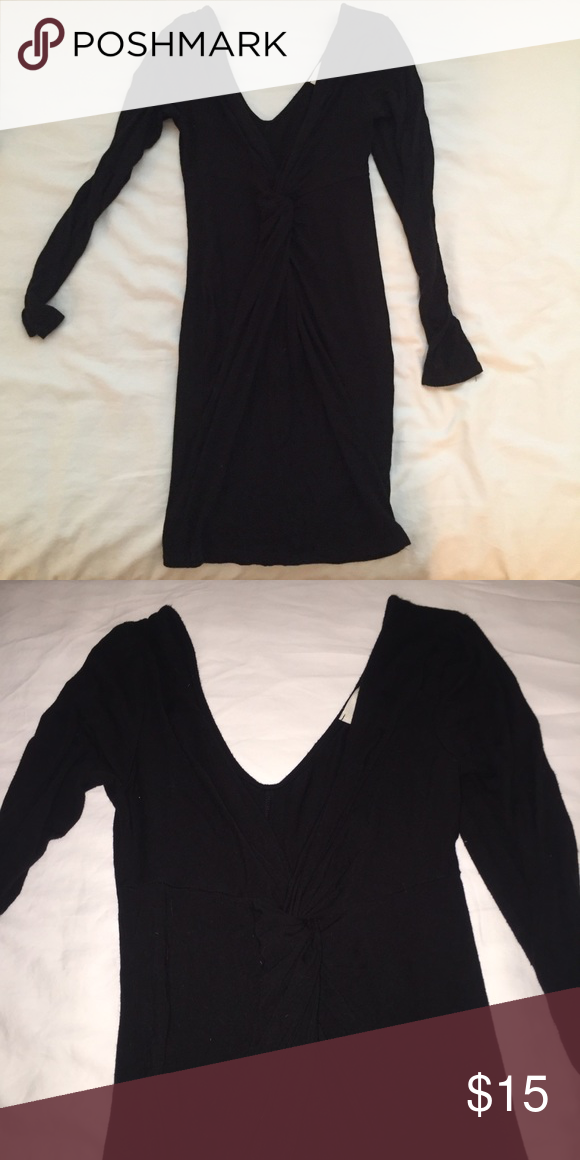 Black Tight Dress really nice fit, picture isnt that great but tight black long sleeve and twist in front Dresses Mini
