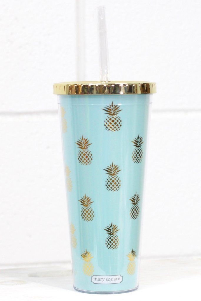 24 Oz Acrylic Tumbler With Gold Metallic Lid And Straw Screws On Off