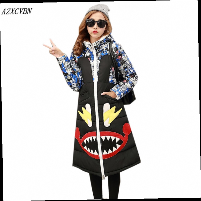 42.12$  Buy now - http://alijqt.worldwells.pw/go.php?t=32737219046 - 2016 New Winter Women Down Jacket Warm Thick Cartoon Print Cotton-padded Coat Female Slim Hooded Parka Casual Long Outwear ZJ914 42.12$