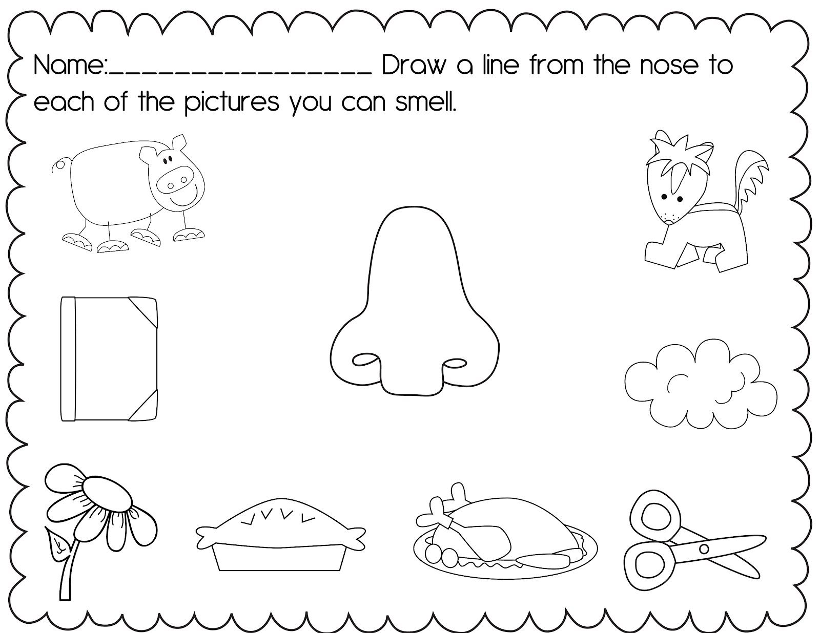 5 Senses Worksheets For Kindergarten | Posted by Christine at 3:14 ...