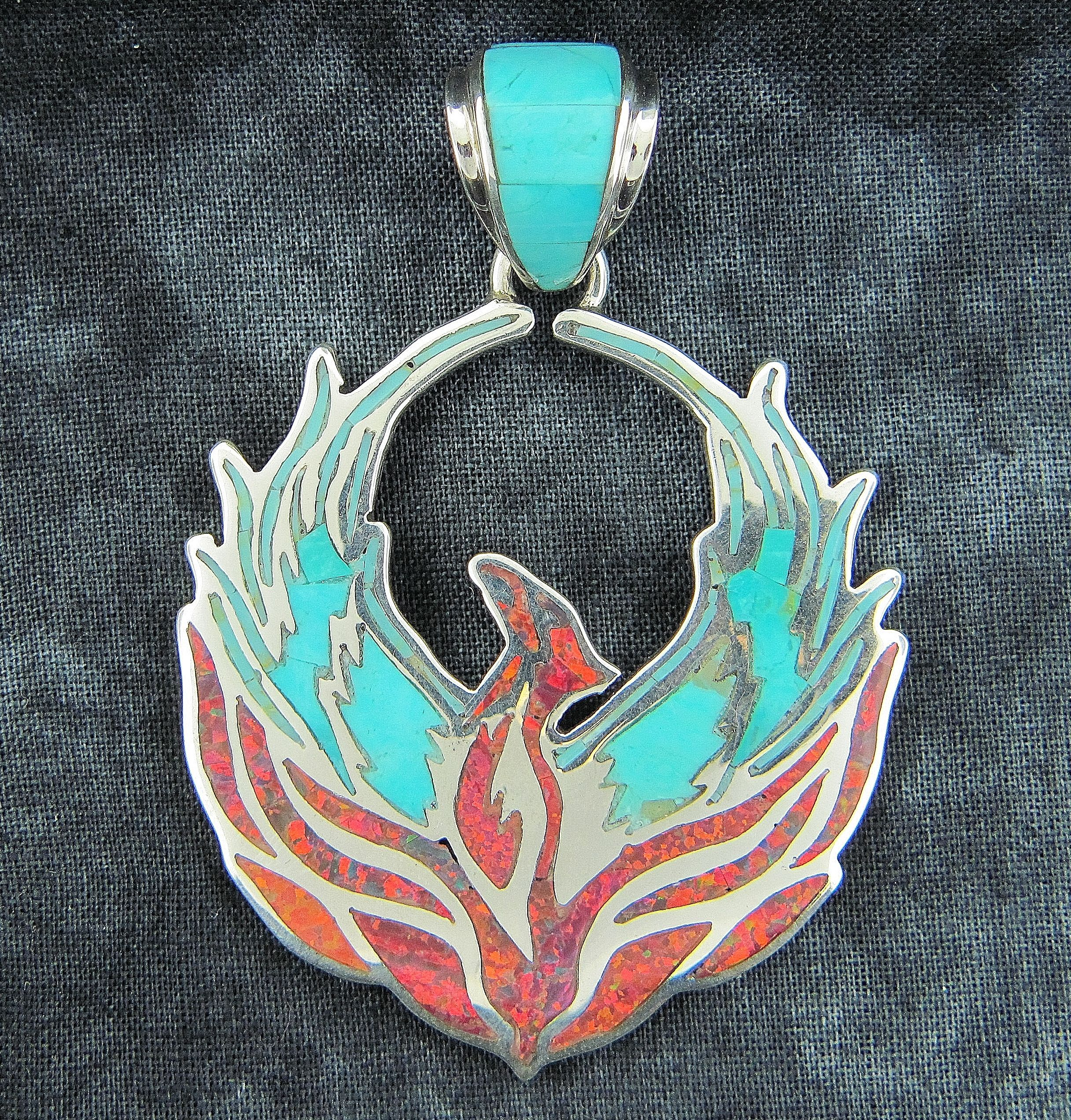 Firebird pendant by david freeland jr southwest jewelry firebird pendant by david freeland jr aloadofball Images