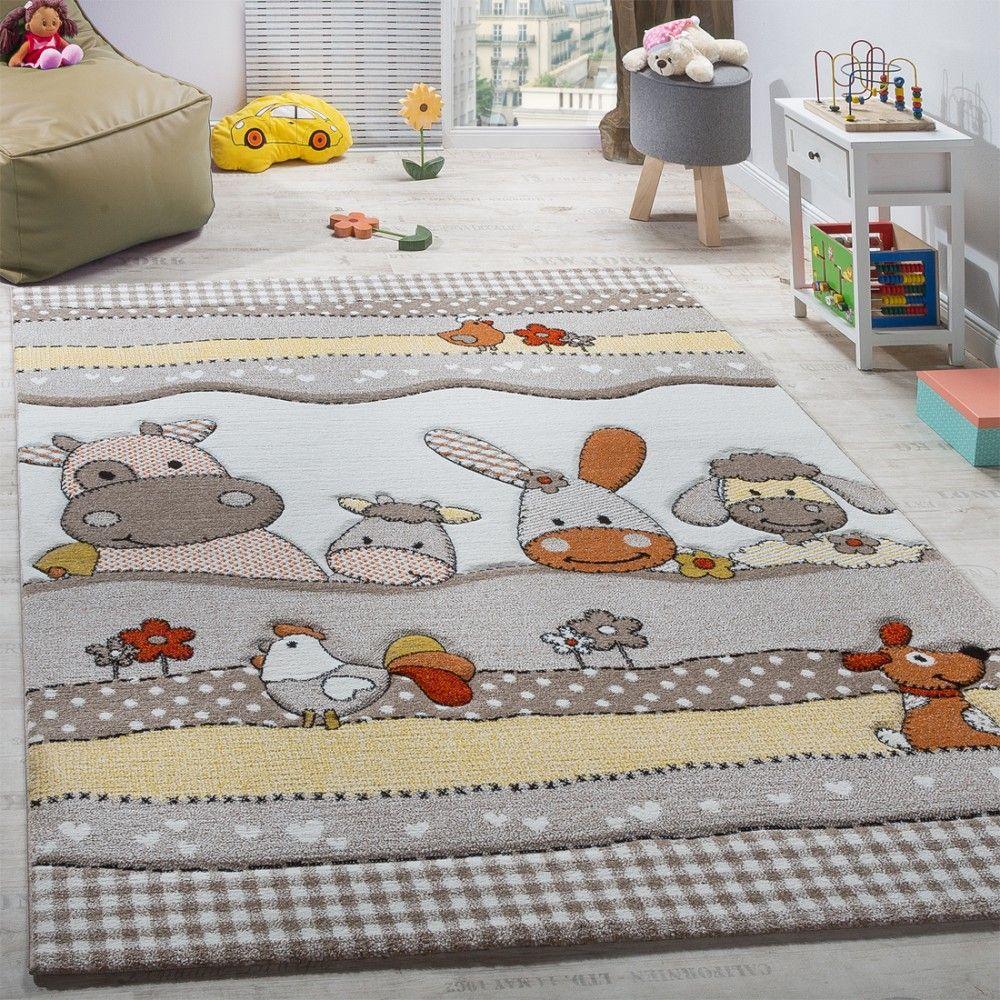 Teppichboden kinderzimmer grau  Kinderteppich Kinderzimmer Lustige Bauernhof Tiere Konturenschnitt ...