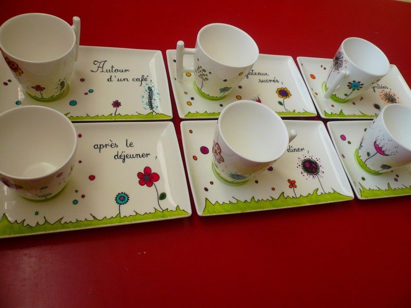 service 6 tasses et coupelles 48 peinture porcelaine. Black Bedroom Furniture Sets. Home Design Ideas