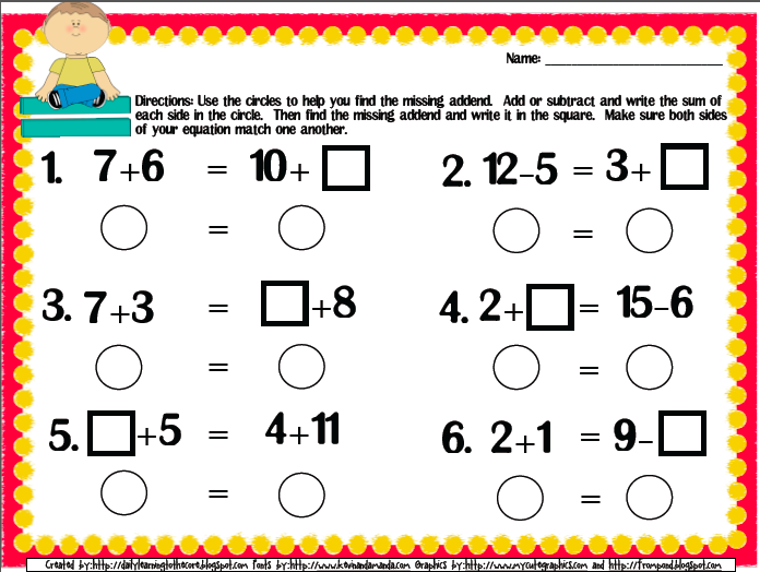 Balancing Equations Freebie Common Core Aligned For First Grade