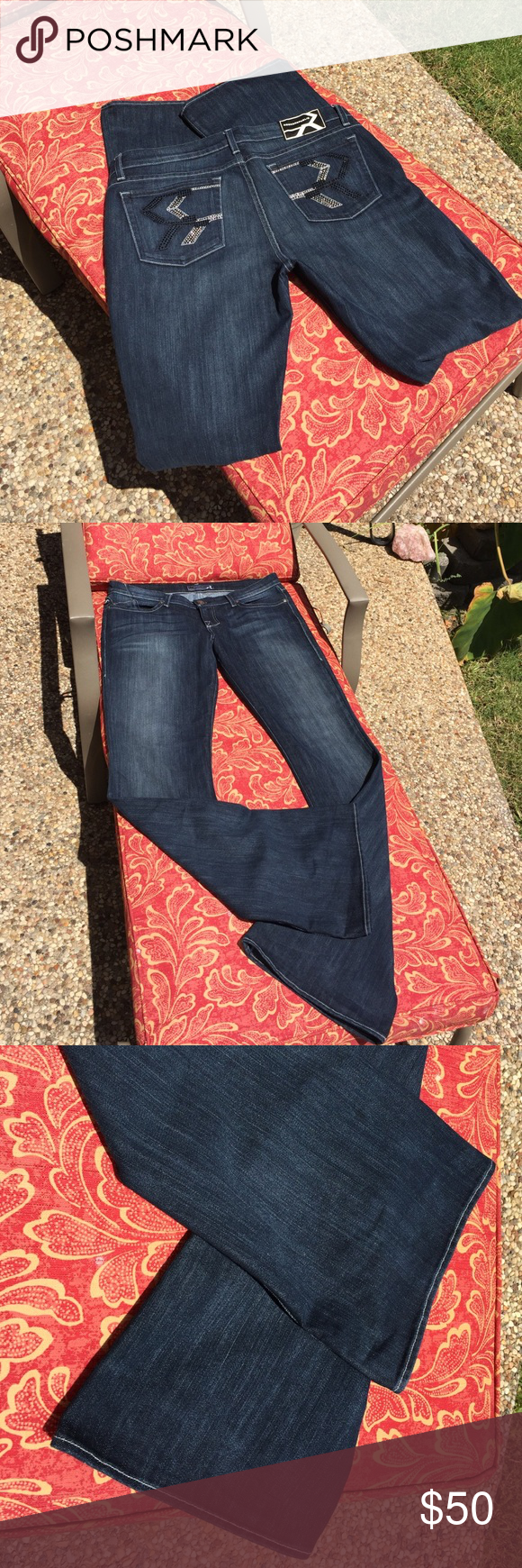 """Rock & Republic dark denim jeans Very very little wear!!! Professionally dry cleaned always. No stones missing. These jeans are in perfect condition. 36"""" in length! These jeans are for ladies with long legs!!! Width of boot flare is 10"""". Overall length from back waist to hem 47"""". LOVE these jeans!!! Rock & Republic Jeans Boot Cut"""