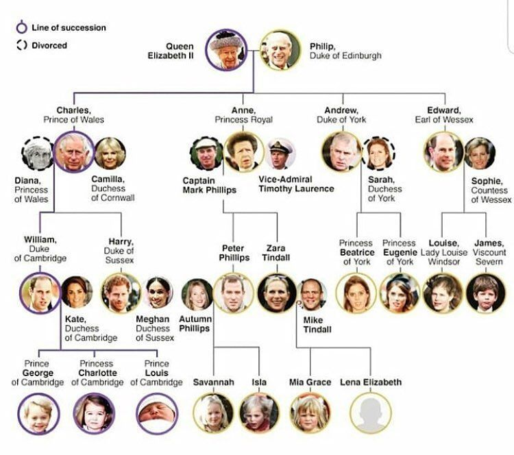 British Royal Family Tree House Of Windsor As Of July 1 2018