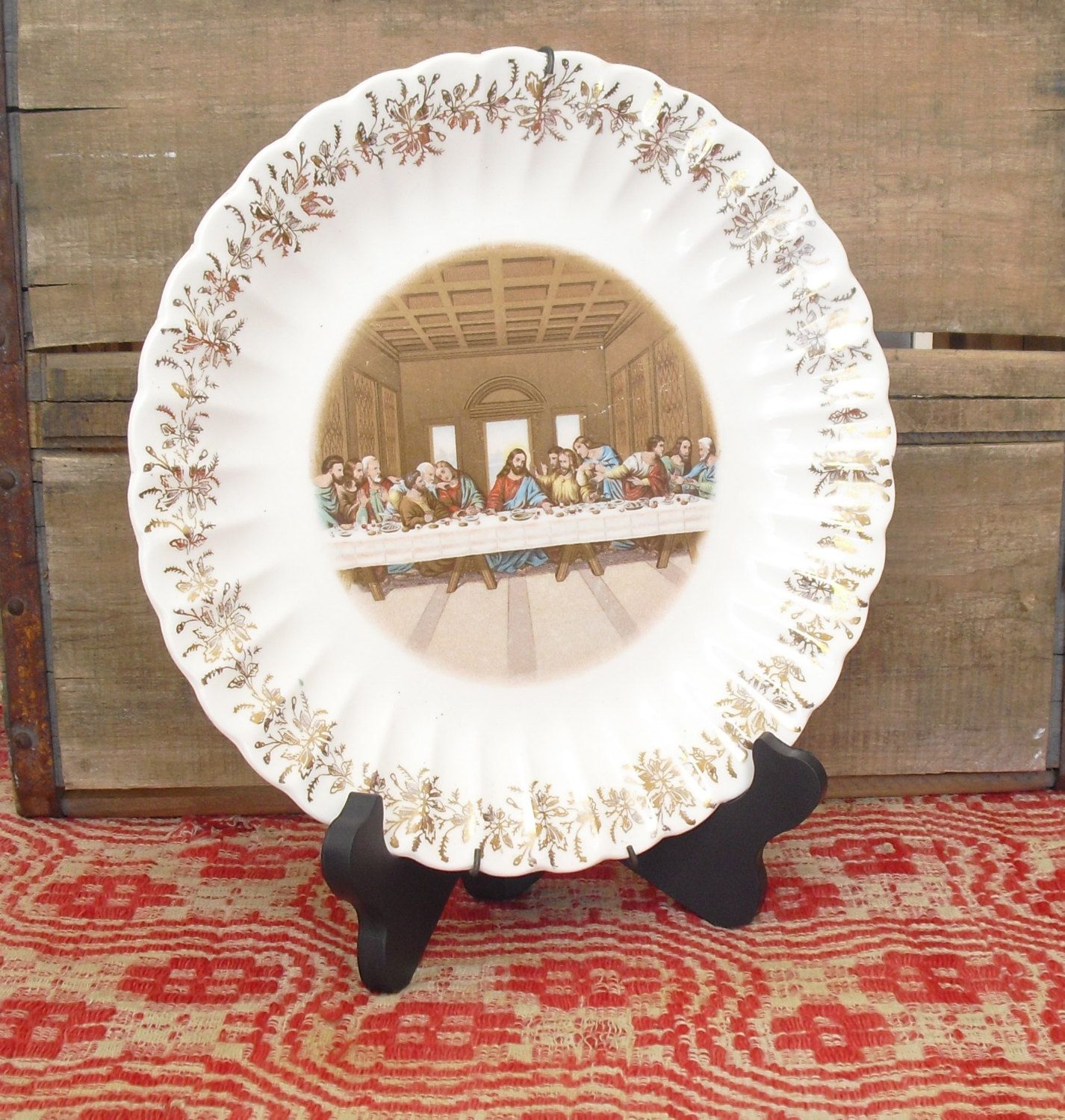 Vintage Lords Last Supper Wall Mount Collector Plate with Wire Plate ...