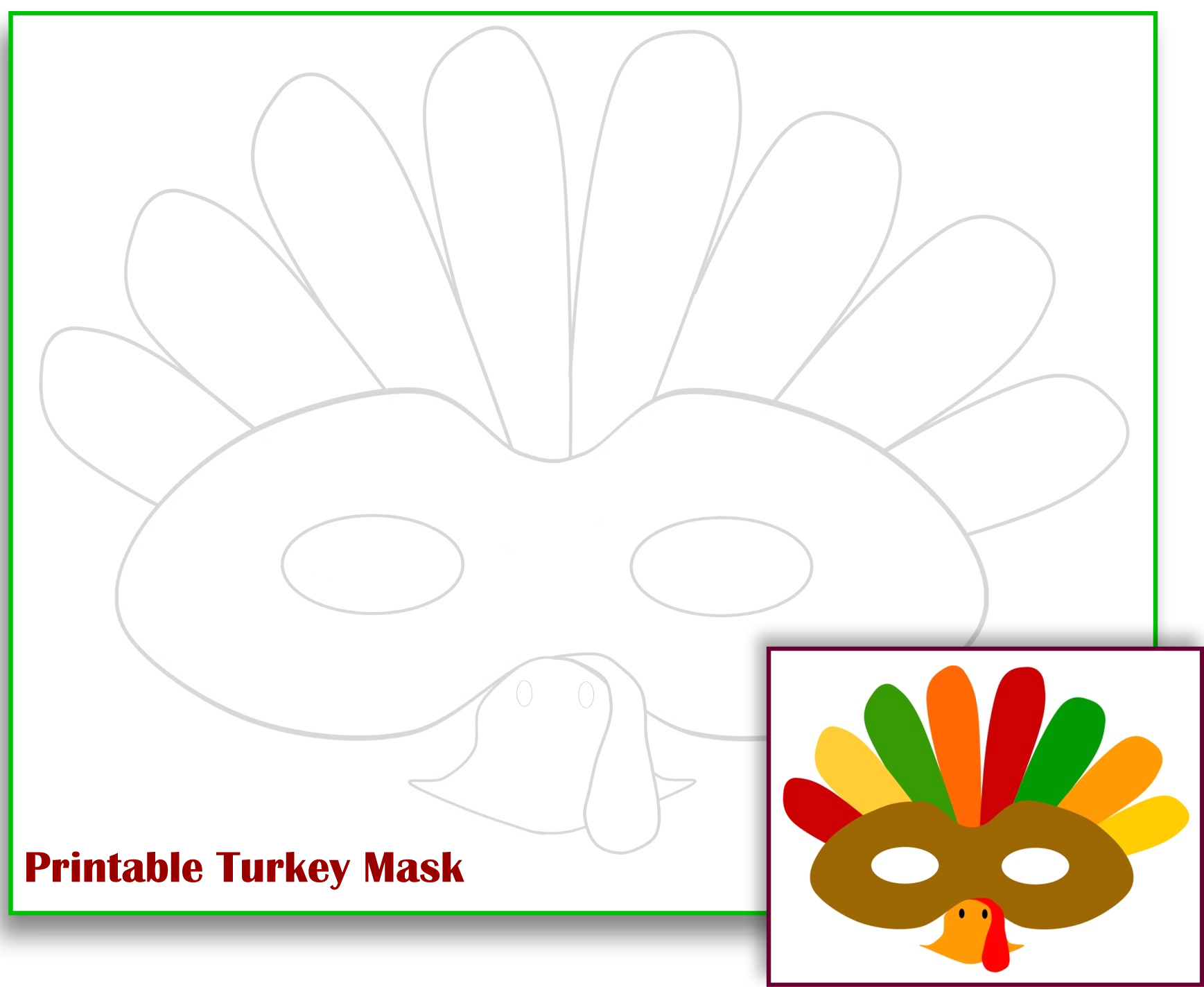 Free Printable Turkey Mask Template  Free Printable Face Masks