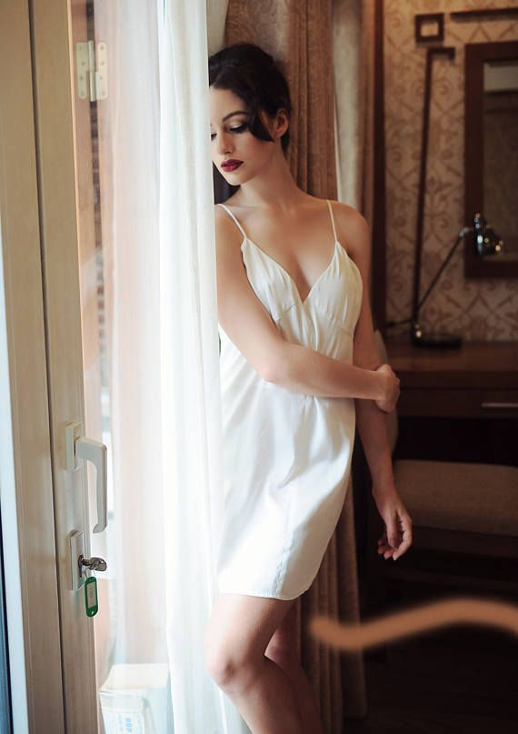 dfcdd69b00 Short ivory white silk nightgown is super smooth and flowy for the lightest  elegance. A delicate adjustable spaghetti strap dress is a sophisticated  update ...