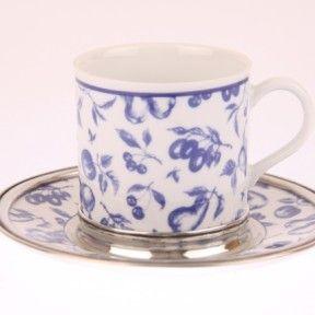 Karlsbader Porzellan mit einer handgearbeitetetn Zinnmontierung. Ein wunderschönes Teeservice bei www.Art-Glas-Else.de