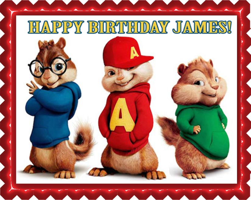 Alvin And The Chipmunks Road Chip 2 Edible Birthday Cake Topper Or