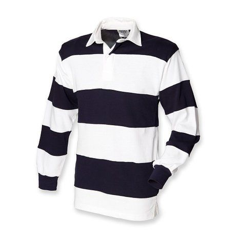 Front Row Heavy Duty Cotton Sewn Stripe White And Navy Rugby Shirt Xl 44 46 Inch Chest Front Row Long Sleeve Rugby Shirts Long Sleeve Tshirt Men Rugby Shirt