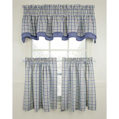Bristol Plaid Window Curtain Tiers   Blue, 100% Cotton. Kitchen Window  CurtainsKitchen ...