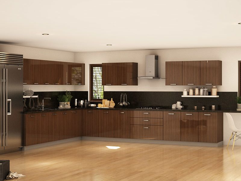 Best Industrial Straight Modular Kitchen Designs India 400 x 300