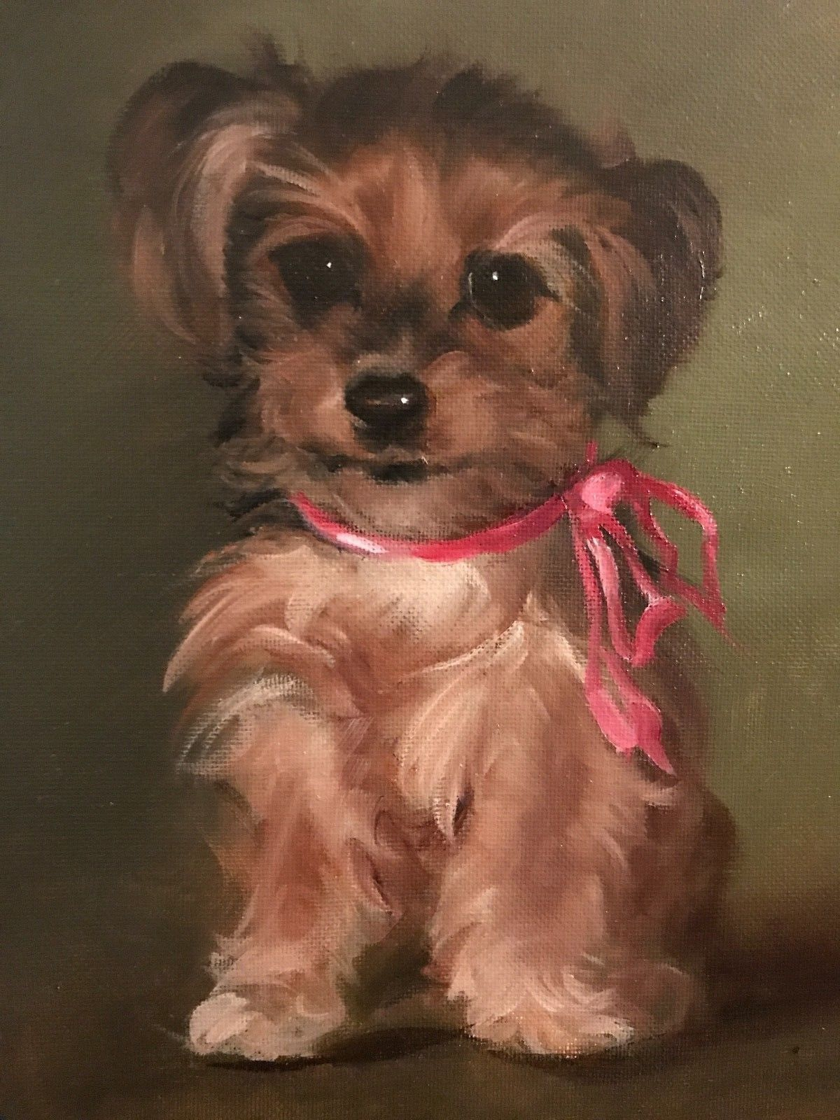 Barnes Oil Painting Cute Yorkie Puppy With Pink Ribbon Yorkshire