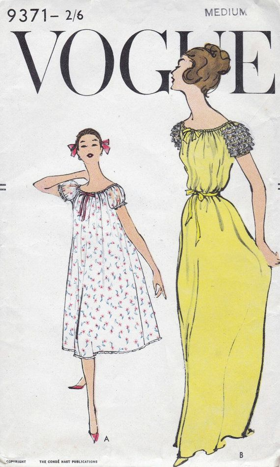 50s Vogue nightgown sewing patterns 9371, bust 34-36 inches, very ...