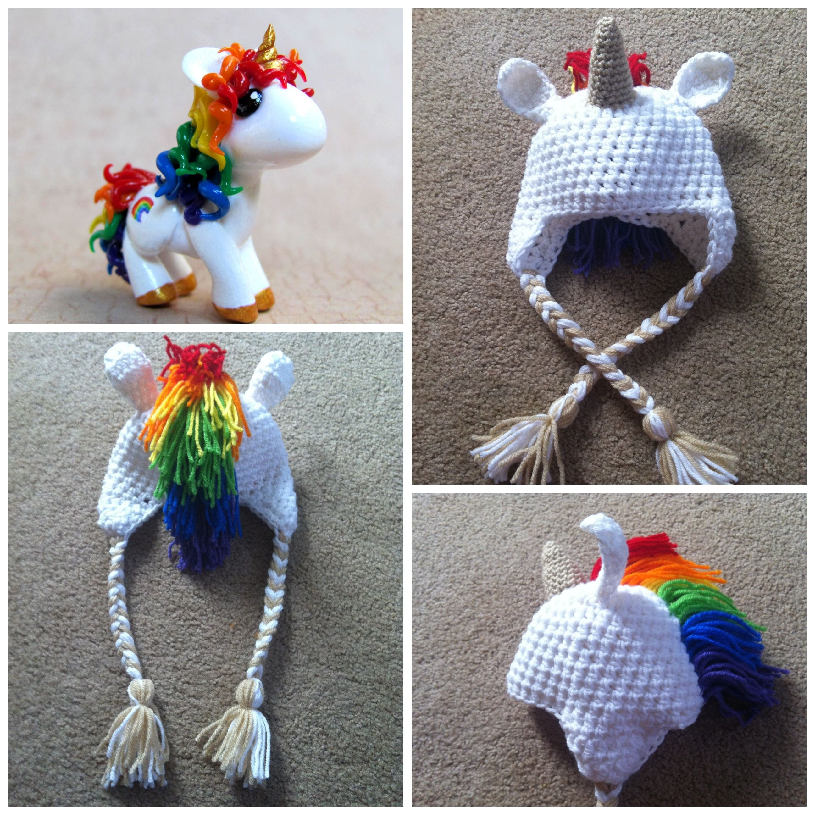 Crochet Pattern For A Unicorn Hat : Crochet Rainbow Unicorn Beanie While you sleep I crochet ...