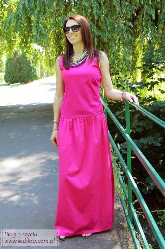 ba656655fd Zobacz jak uszyć letnią długą sukienkę (szycie krok po kroku) + opis jak  przygotować wykrój